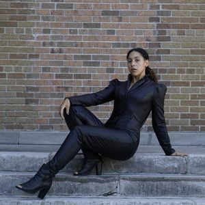Black Vegan Leather Jumpsuit